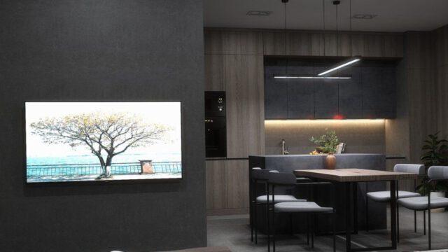 salon z kuchnią - projekt wnętrza